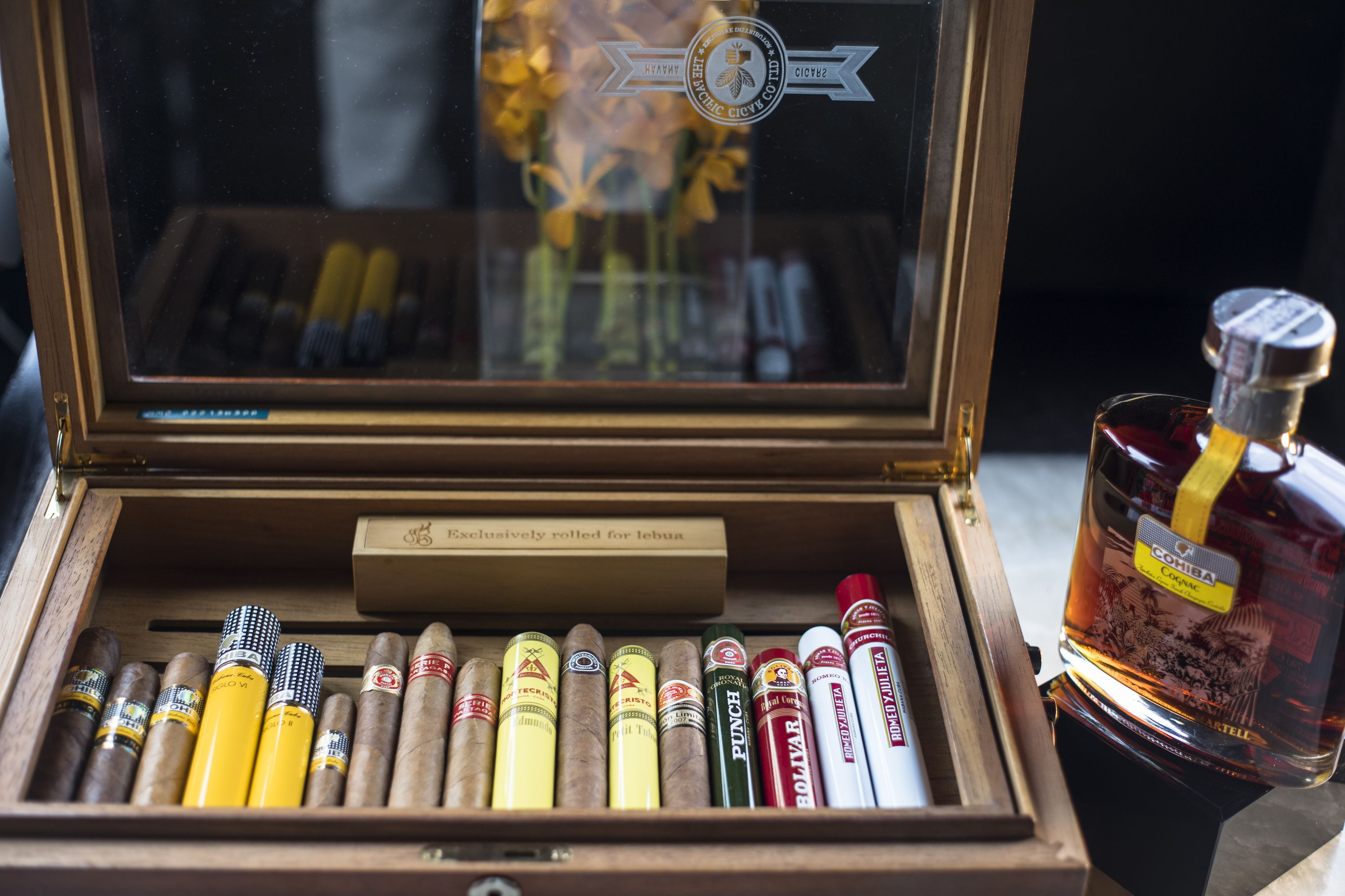 tobacco box and cognac bottle