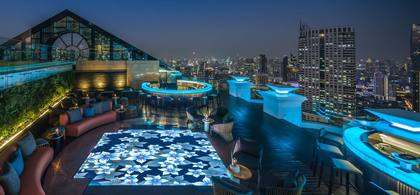 Rooftop restaurant with city view