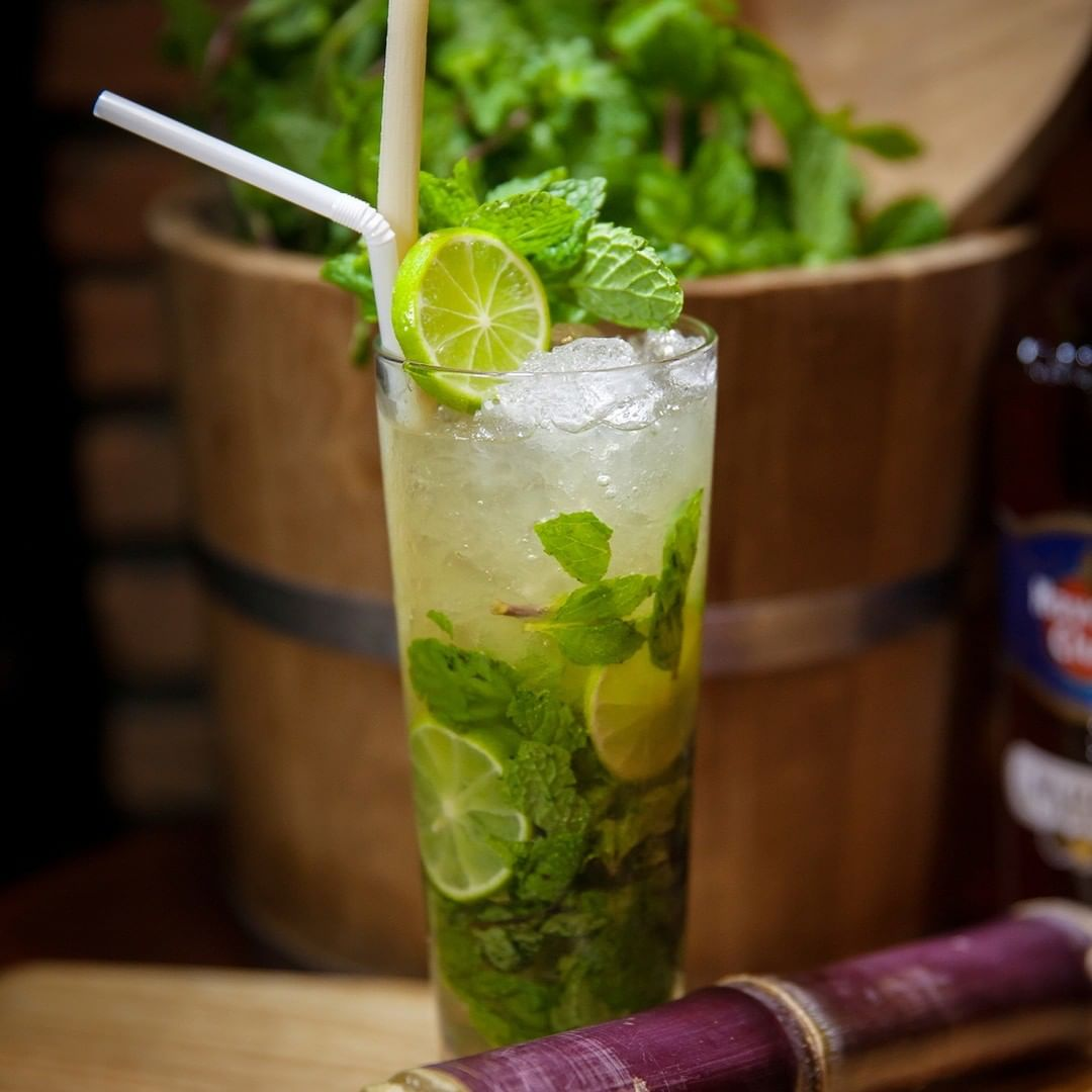 mojito cocktail with leaves