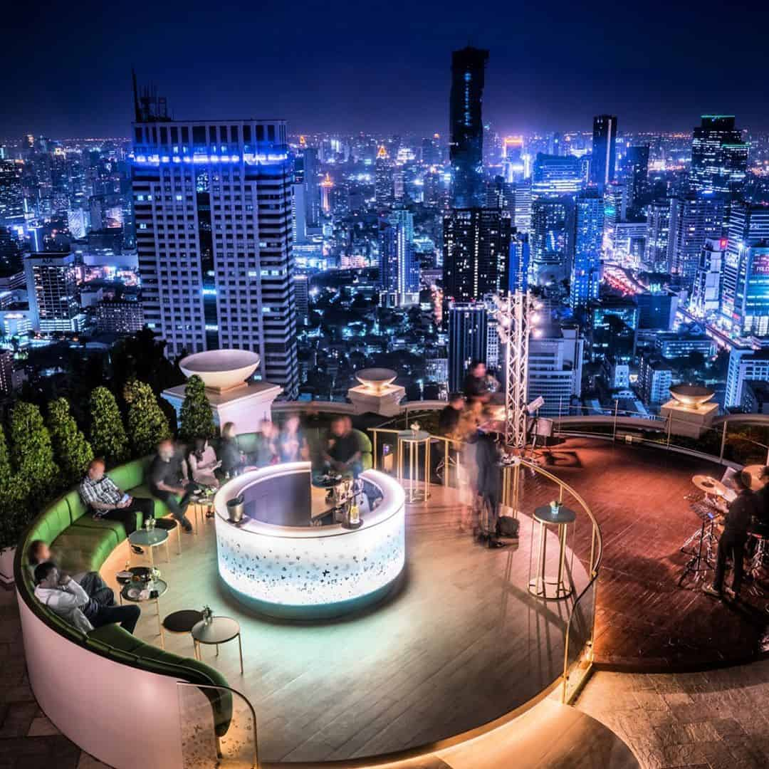 rooftop with bar lounge and city skyline view