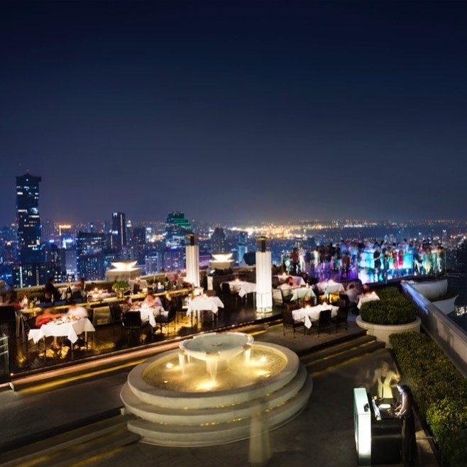 rooftop bar with city view