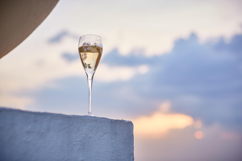 Wine glass with sky background