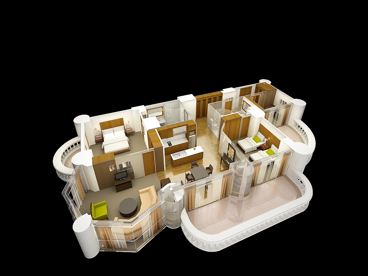 suite layout with balcony