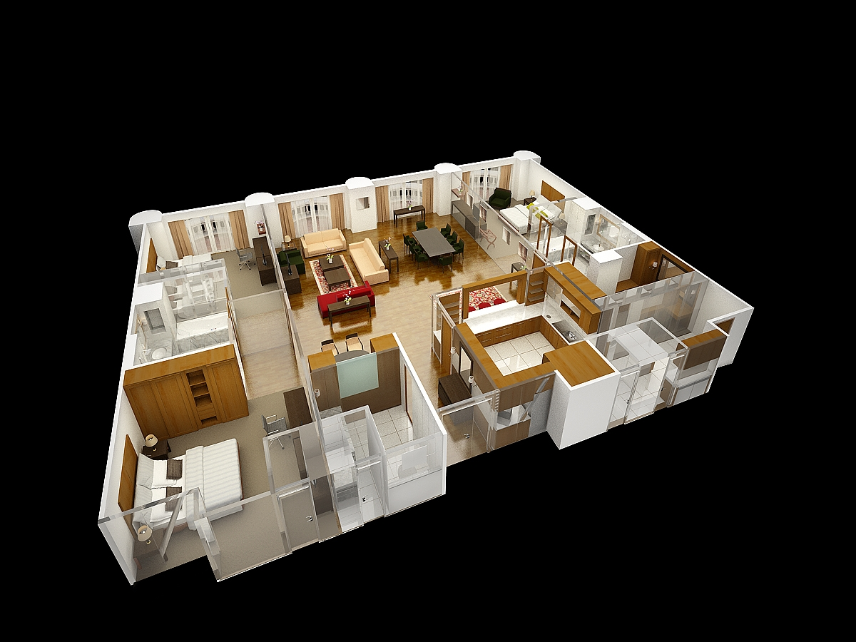 Hangover suite layout render