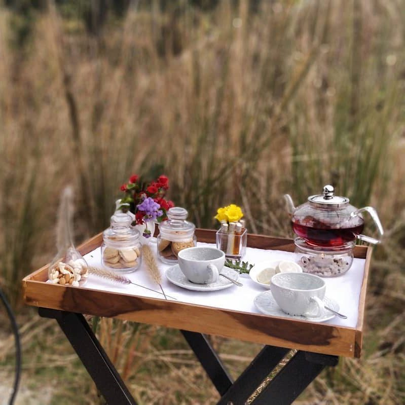 A tray with tea and biscuits overlooking the forest