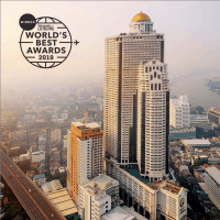 "Picture of the Lebua's towers with the Travel+Leisure's ""World's Best 2019"" awards logo"
