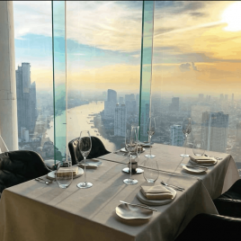 dressed table with views of Bangkok